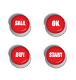 Red buttons with signs - sale buy ok and start vector image vector image