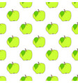 seamless background green apple on white field vector image vector image