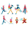 set of people in winter vector image vector image