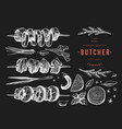 vintage meat on chalk board hand drawn shish vector image