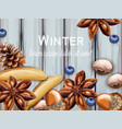 winter background with bananas blueberry and vector image