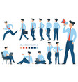 young businessman character gestures and poses vector image vector image
