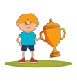 little kid with champion trophy vector image