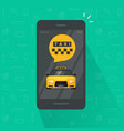 taxi service on mobile phone vector image