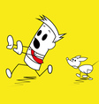Square guy being chased by a dog vector image