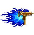 a gold uzi gun with flames vector image vector image