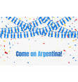argentina garland flag with confetti on vector image vector image