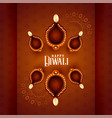 beautiful diwali diya lamps on decorative vector image vector image
