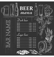 Beer menu hand drawn on chalkboard vector image vector image