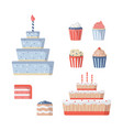 birthday cake icons collection party vector image vector image