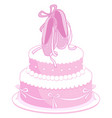 birthday cake with pink ballet shoes vector image vector image