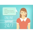 Call Centre Support Girl with Headphones vector image vector image