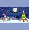 christmas landscape at night vector image vector image