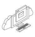 cloud computing technology in black and white vector image vector image