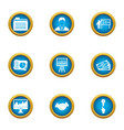 currency icons set flat style vector image vector image