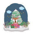 cute christmas reindeer in the snowscape vector image