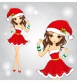Cute Fashion Girl Dressed In Red Santa Claus Dress vector image