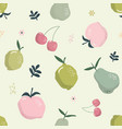 cute seamless pattern with fruits on pastel green vector image