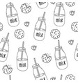 doodle milk bottles and chocolate chip cookies vector image vector image