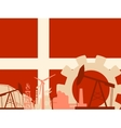 Energy and Power icons set with Denmark flag vector image vector image