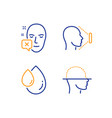face declined oil drop and face id icons set vector image vector image