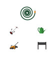 flat icon dacha set of lawn mower hosepipe grass vector image vector image