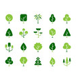 geometric trees simple color flat icons set vector image vector image