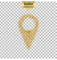 Gold glitter icon of pointer isolated on vector image vector image