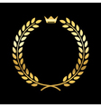 Gold laurel wreath with crown vector image vector image