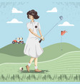 golf player woman in the course vector image vector image