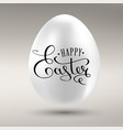 happy easter calligraphy inscription on the golden vector image