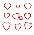 hearts drawing set vector image vector image