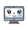 kawaii cute happy screen monitor vector image vector image