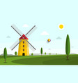 landscape with windmill and trees on field vector image vector image