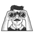 man looking through binoculars sketch vector image vector image