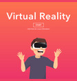 man wearing virtual reality glasses vector image