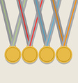 Many Golden Medals With Colorful Ribbon vector image vector image