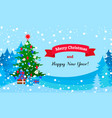 merry christmas gift green tree concept banner vector image