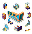 modern game center concept 3d game machines race vector image vector image