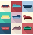 Modern luxury sofas and couches furniture icons vector image vector image
