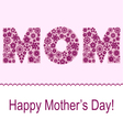 Mothers day card with flower symbol set vector image