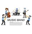 musicians jazz group playguitarsaxophonetrumpet vector image