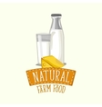 painted logo design dairy products with frame vector image vector image
