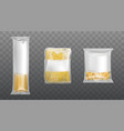 pasta in limpid package set dry macaroni spaghetti vector image
