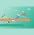 people running along arrows indicating correct vector image vector image