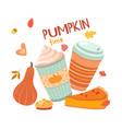 pumpkin latte time autumn drinks hygge season vector image vector image