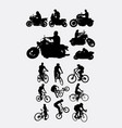 riding motorbike and bicycle silhouette vector image