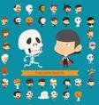 set 40 halloween costume characters vector image