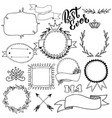 set of hand drawn badges frames and lettering vector image vector image