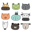 set of hand drawn cute animal vector image vector image